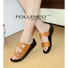 Spesifikasi Pollenzo Dual Strap Sandal Flat Kunyit Yg Baik