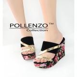 Ulasan Pollenzo Jesica Sandal Wedges Flower Black