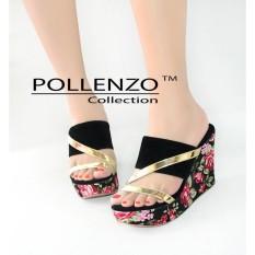 Beli Pollenzo Jesica Sandal Wedges Flower Black Pollenzo