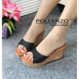 Harga Pollenzo Lilifera Wedges Black Branded