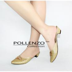 Jual Pollenzo Loafer Shoes Selop Pesta Wanita Gold Satu Set