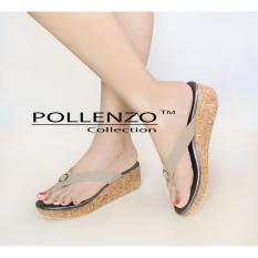 Promo Pollenzo Nagita Wedges Jepit Sandal Khaki