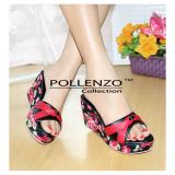 Jual Pollenzo Orchid Flower Wedge Black Branded Original