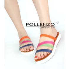 Spek Pollenzo Rainbow Flat Sandal Casual Wanita Pollenzo