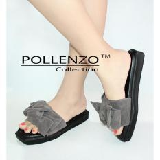 Pollenzo Sandal Selop Bahan Suede PVC Pita Besar