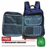 Cara Beli Polo Homme Tas Ransel Design Korea 33932 Nylon Casual Original Blue Raincover
