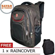 Polo Losvek Tas Ransel Pria 18 Inchi 566-18 Polyester Nylon Waterproof - Black + Raincover