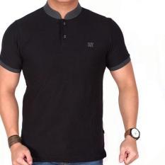 polo shirt pria lacost hitam list abu pendek slimfit / baju kaos kerah sanghai hitam