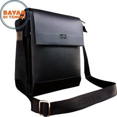 Tas Selempang Kulit Asttin Size 10 Inchi 758-10 PU Leather Slim Expanding Waterproof Original - Black