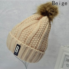 Pom Poms Ball Keep Warm Winter Hat for Women Girl 's Wool Hat Knitted Beanies Cap Thick Female Cap Beige - intl