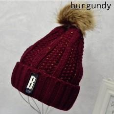 Pom Poms Ball Keep Warm Winter Hat for Women Girl 's Wool Hat Knitted Beanies Cap Thick Female Cap Burgundy - intl