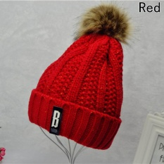Pom Poms Ball Keep Warm Winter Hat for Women Girl 's Wool Hat Knitted Beanies Cap Thick Female Cap Red - intl