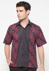 Beli Pomona Batik Kemeja Lengan Pendek Hitam Motif Merah Baru
