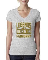 Populer Legenda Lahir Pada Bulan Februari Junior Sesuai Leher-v Lucu 2018 T Kemeja untuk Wanita Grey-Internasional