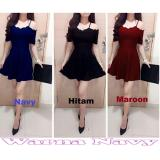 Jual Baju Dress Coble Wanita Twiscone Fashion Lengan Pendek Navy Popuri Branded