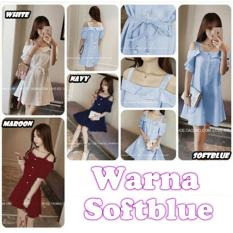 Jual Baju Dress Jeanette Wanita Twiscone Fashion Lengan Pendek Soft Blue Import