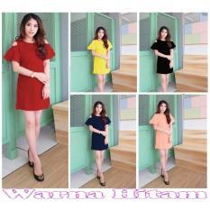 Popuri Fashion Baju Dress Lavina Wanita - Hitam - Wedges Scuba Lengan Pendek