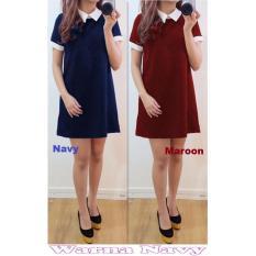 Popuri Fashion Baju Dress Shakita Wanita - Navy - Spandek Lengan Pendek Baju Dress Wanita Murah Kekinian Terbaru Gaun Pakaian Gaun Dress Wanita Dresss Gaun Dress Wanita Dres
