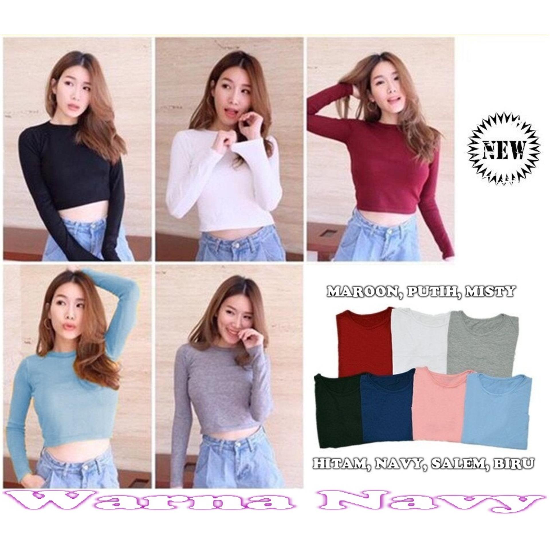 Lengan panjang Popuri Fashion Blouse Janna - Navy - Spandek Lengan Panjang Blouse Baju Atasan Wanita Murah Baju
