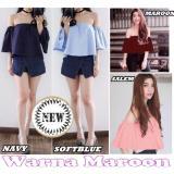 Promo Blouse Sabrina Banvelos Baju Atasan Wanita Fashion Twiscone Maroon