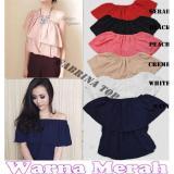 Daftar Harga Blouse Sabrina Driggs Fashion Baju Atasan Wanita Twiscone Lengan Pendek Merah Popuri