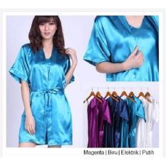 Popuri Fashion Kimono Daster Randa - Set Baju Tidur Satin Lengan Pendek - Elektrik