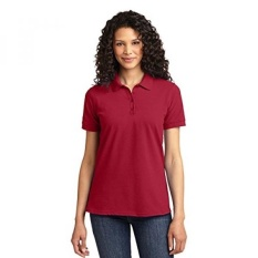 Port & Company Ladies 50/50 Pique Polo, Merah, Nautica-Intl