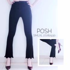 Spesifikasi Posh Celana Jeans Wanita Cutbray Scallop Hitam Baru