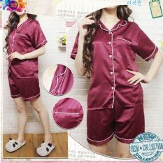 PP Baju Tidur Piyama Pajamas SATIN Sleepwear Baju Pendek Celana Pendek Satin Silky Velvet