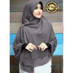 Premium Jilbab Instan Syari Khimar Pet Sifon Polos Aisyah Pet (Hijab Instant) Khimar Syari ABU ABU - Toko Berkah Online