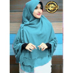 Premium Jilbab Instan Syari Khimar Pet Sifon Polos Aisyah Pet (Hijab Instant) Khimar Syari BIRU TOSCA- Toko Berkah Online