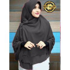 Premium Jilbab Instan Syari Khimar Pet Sifon Polos Aisyah Pet (Hijab Instant) Khimar Syari HITAM - Toko Berkah Online
