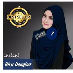 Premium Hijab Impor Jilbab Instan Sarah (Hijab Instant) BIRU DONGKER - Toko Berkah Online