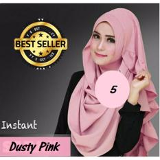 Premium Hijab Impor Jilbab Instan Sarah (Hijab Instant) DUSTY PINK - Toko Berkah Online
