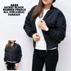 Premium Jaket Bomber Wanita Cewek Warna Hitam Polos Parasut