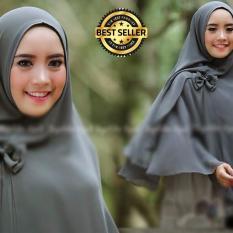 Premium Jilbab Syar'i Tanpa Pet Model Khimar Dhea FREE Bross Pita – GREY (ABU) Toko Berkah Online