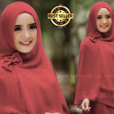 Premium Jilbab Syar'i Tanpa Pet Model Khimar Dhea FREE Bross Pita - MERAH Toko Berkah Online