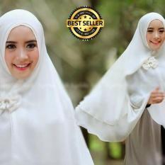 Premium Jilbab Syar'i Tanpa Pet Model Khimar Dhea FREE Bross Pita – PUTIH TULANG Toko Berkah Online