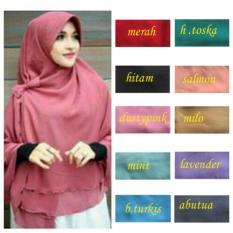 Premium Kerudung Hijab Jilbab Instan Syari Khimar Pet Sifon Polos
