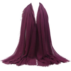 Premium Viscose Besar Crinkle Awan Jilbab Syal Selendang Lembut Islam Muslim PP15 #-Internasional