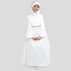 Jual Pretty G*rl Muslim Dress Mala Pakaian Anak Dress Casual Anak Perempuan White Import