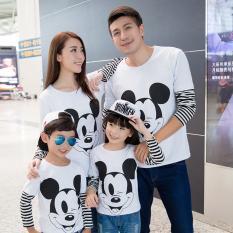 Diskon Prettyladdies Kaos Family Couple 2 Anak Mouse Ayah Ibu 2 Anak Lengan Panjang