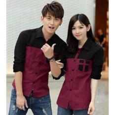 Toko Prettyladdies Kemeja Couple Avery Maroon Online Dki Jakarta