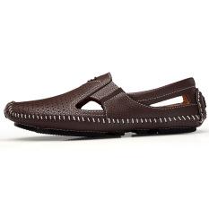 Pria Berongga Bernapas Modis Sepatu Kulit Kecil Sepatu Mengemudi Coklat Muda Sepatu Pria Sepatu Sendal Promo Beli 1 Gratis 1
