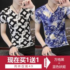 Toko Pria Busana Pria Ini Lengan Pendek T Shirt V Neck T Shirt Slim Bottoming Kemeja Kotak Hitam Biru Enchantress Terlengkap Tiongkok