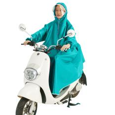 Pria Dan Wanita Tunggal Memiliki Helm Jas Hujan Jas Hujan (Cyan)