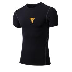 Spek Pria Elastis Tinggi Cepat Kering Kebugaran Pakaian Workout Pelatihan Rompi Lengan Pendek Bryant Hitam