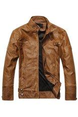 Toko Jual Pria Fashion Padat Pu Kulit Motor Jaket Mantel More Tahan Terhadap Dr Coklat