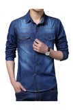 Iklan Pria Kasual Keren Lengan Panjang Kerah Yg Terlipat Ke Bawah Kerah Kemeja Jeans Jaket Tipis Seperti Biru Tua Ekspor