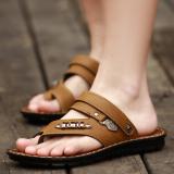 Harga Pria Kasual Klip Toe Pantai Sepatu Sandal Khaki Asli